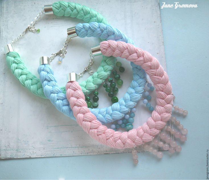 Купить Колье коса - розовый, натуральные камни, колье, коса, колье коса, вязаное колье