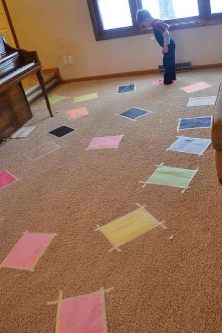 Use felt pieces on carpet - Don't step on the lava where the floor is lava (awesome for an indoor activity)