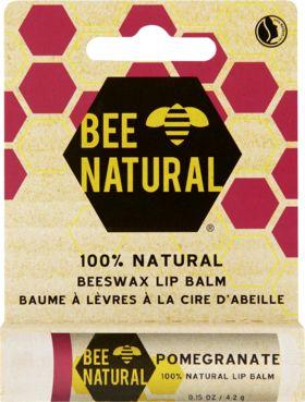 Bee Natural Lippenbalsam Granatapfel pflegt die Lippen intensiv und auf natürliche Weise mit dem reinen Wachs der Bienen, Kokospalm-, Sonnenblumensamen-...