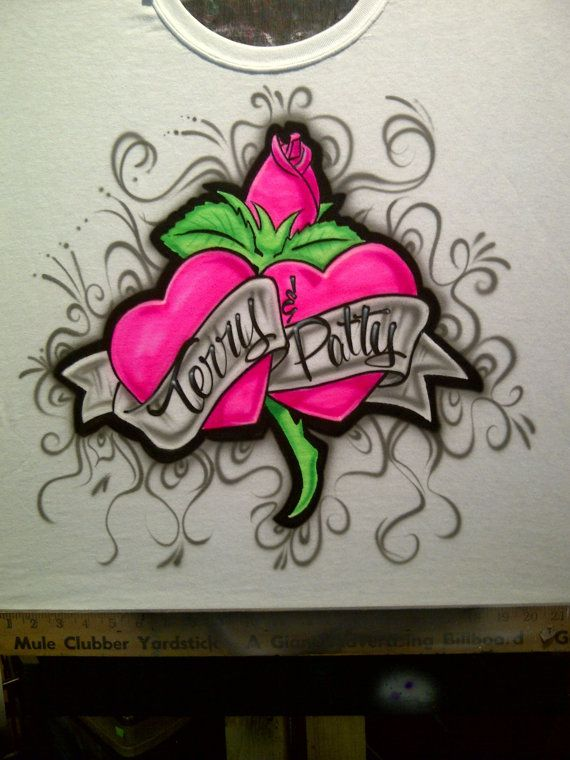 66 best amazing airbrush creations images on pinterest airbrush airbrush hot pink hearts with rose shirt by airbrushingbytaylor 1400 solutioingenieria Gallery