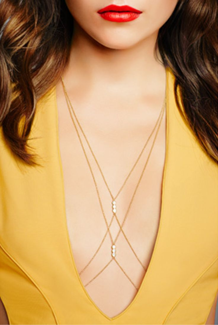 Sexy Fashion Charm Golden Body Six Faux Pearls Body Belly Chain Harness Jewelry