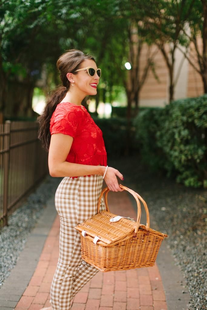 Picnic Fashion l Gingham & Red l Fashion Blogger l Shop This Look at www.fitnessandfrills.com