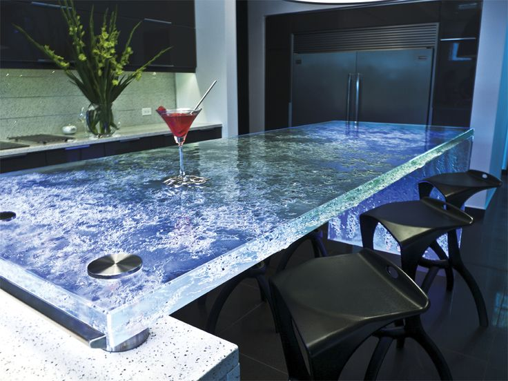 Julie SpecialIceThickGlass This unique kitchen countertop