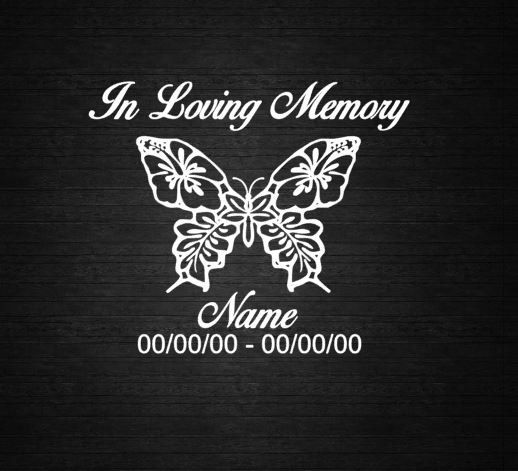Hibiscus butterfly in loving memory decal by countryheartdesignz