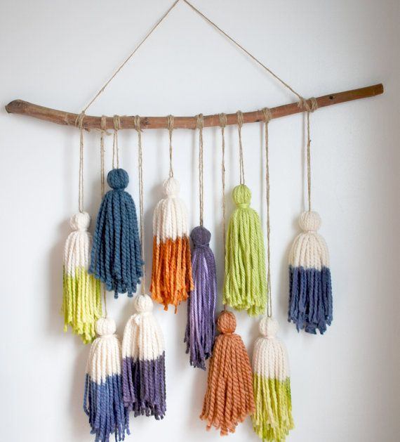 Branch tassel boho wall hanging- Dip dyed Tassel wall hanging, natural wall decor, photo prop, room decor,