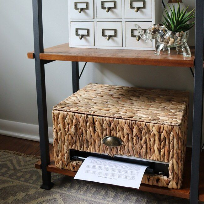 Hidden in plain sight! # Such a genius way to work an unsightly printer into your home office décor. #DIY #MakeHomeYours [: Pinterest contributor DIY Playbook]