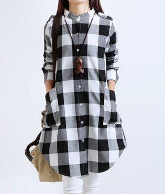 Plus Size Women Plaid Blouses Long Sleeve Cotton