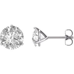14K White 4mm Round Forever One™ Colorless Created Moissanite Earrings