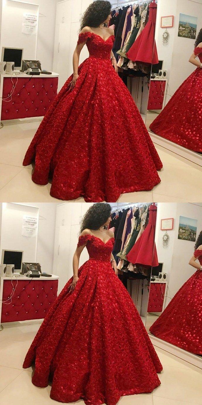 45ba8e00e3e Ball Gown Off the Shoulder Floor-Length Red Satin Prom Dress ...