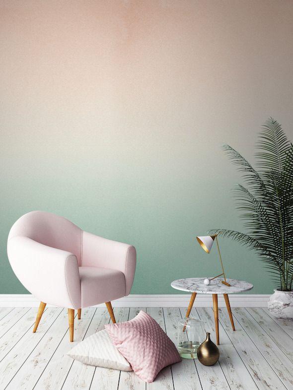 plante-verte-couleur-pastel-degrade-mur-vert - Le blog deco de mlc