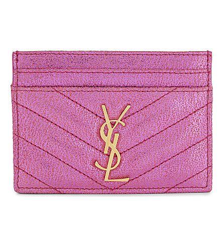 SAINT LAURENT Monogram Metallic Quilted Leather Card Holder. #saintlaurent #purses and pouches