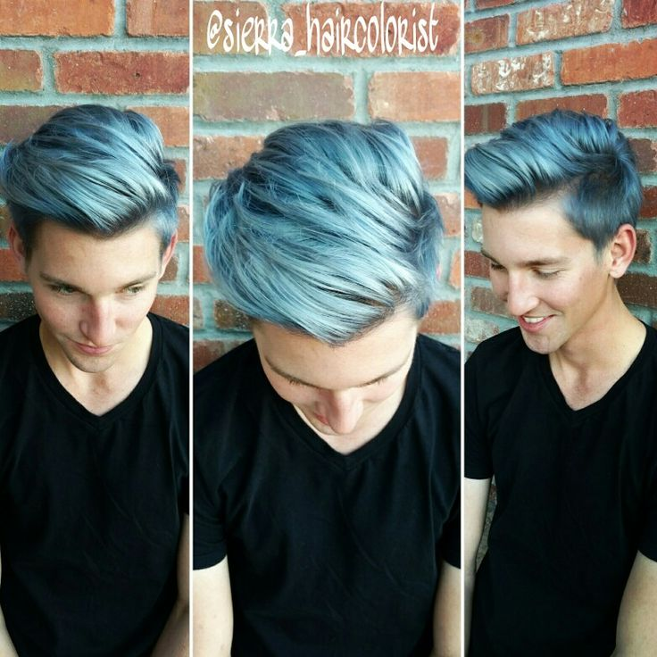 Blue hair dont care. Men color hair too. Lanza color. Mens haircut. @sierra_haircolorist on instagram