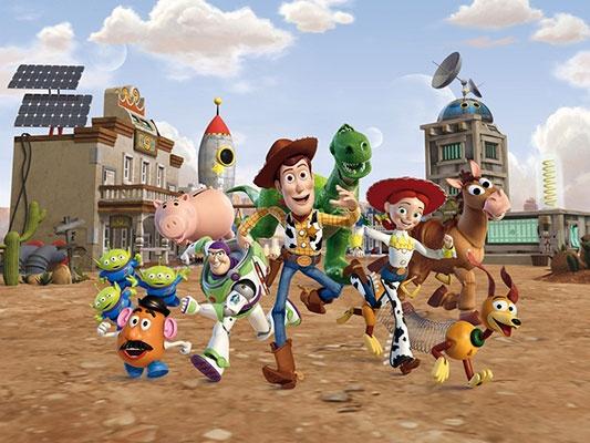 Fotomural infantil Toy Story. Ocupa toda una pared. Este mural gigante es ideal para habitaciones infantiles, cuartos de juego o guarderías.