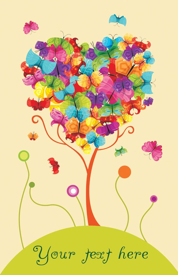 Colorful Butterfly Trees Vector Material | Lazy Drawing