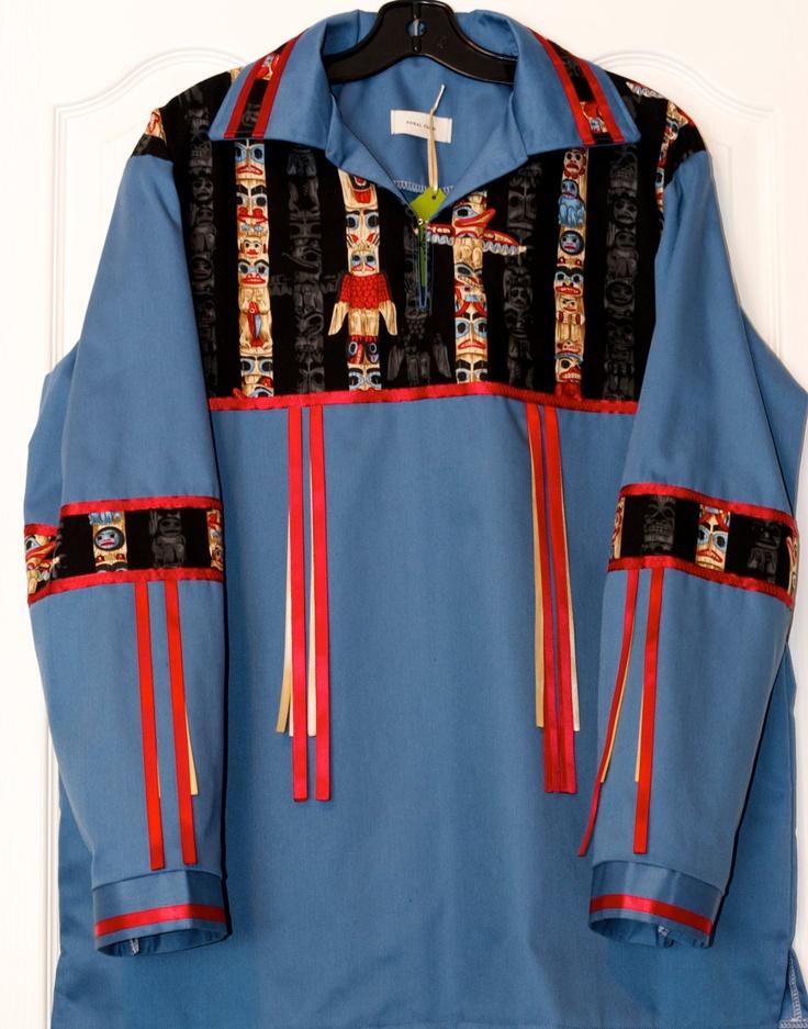 Large Native American Style Ribbon Shirt in a Totem Pole Pattern. $100.00, via Etsy.
