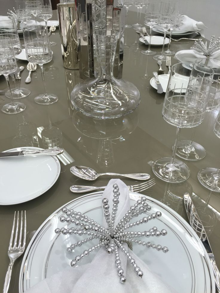 The @Christofle Dining Table Is Set #DesignerShowcase @PBShowGroup  #tablescape #design