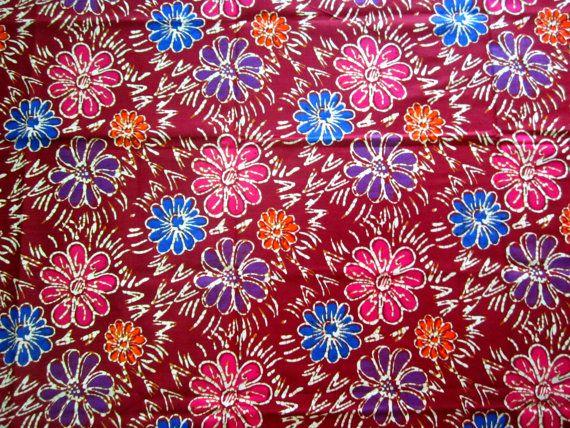 Cotton  Batik  Red Floral  Sarong /Pareo