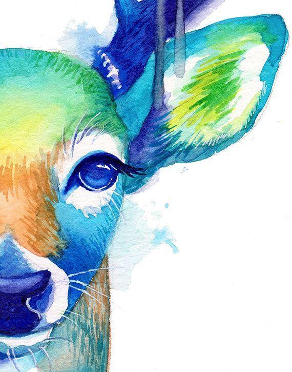 Colorful Deer No 2 Abstract Animal Watercolor Wall Art