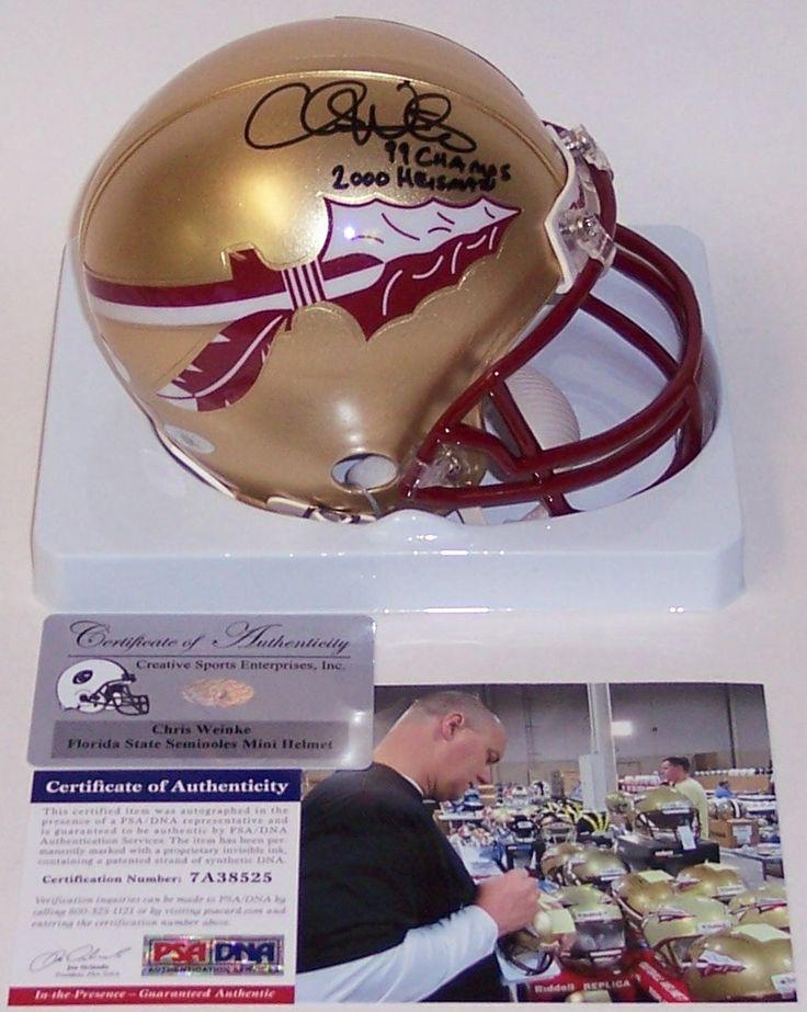Chris Weinke Hand Signed FSU Florida State Seminoles Mini Helmet - PSA/DNA
