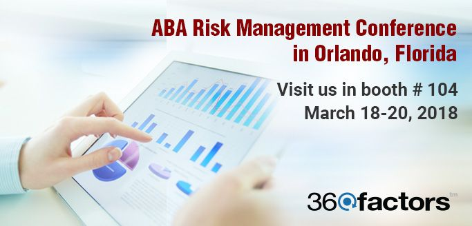 ABA Risk Management Conference 2018 in Orlando, Florida. Please join us at the upcoming American Bankers Association #RiskManagement Conference in #Orlando, Florida. 360factors and its leading experts in Risk & Compliance will be at Booth #104 in the Hyatt Regency Orlando Hotel.➡http://bit.ly/2C9fYDq