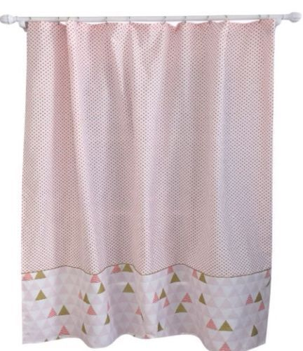 Target Pillowfort Smoothie Fabric Shower Curtain Kids Geo Triangle NEW White #Target