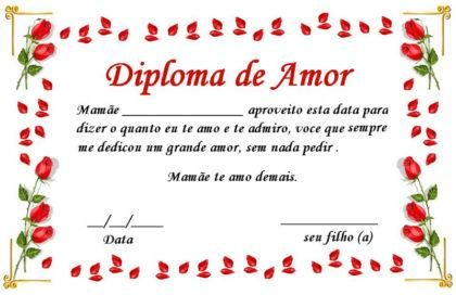 cartões românticos para o dia dos namorados Diploma do amor