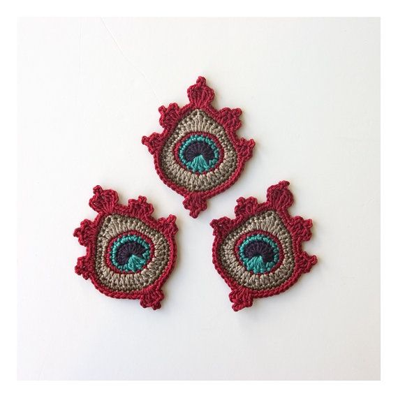 Crochet Peacock Feather Appliques or Motifs by TheCurioCraftsRoom