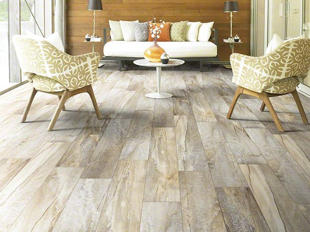 Shaw Floors' resilient vinyl plank, in Easy Style, is a marriage of stone and wood. The result is a stunning visual that can be used anywhere in the home.