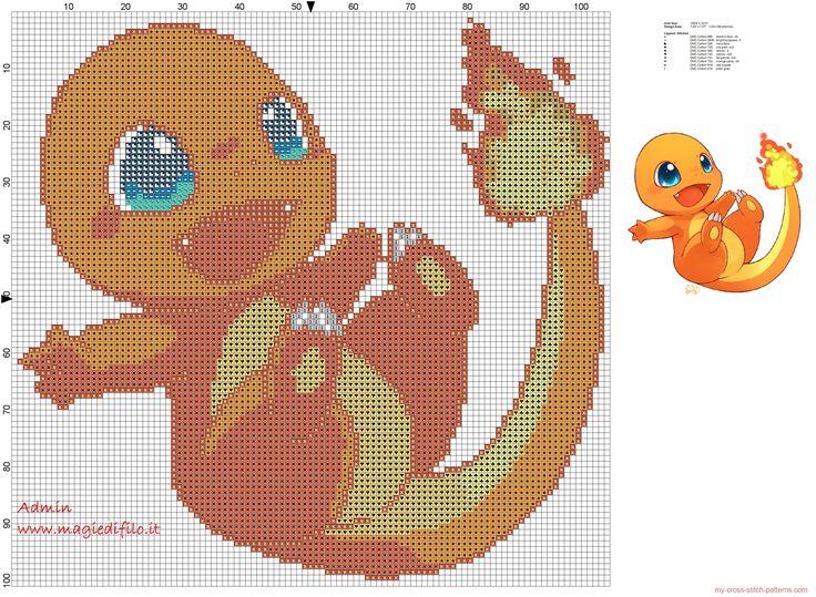 Charmander pokemon 004 cross stitch pattern free
