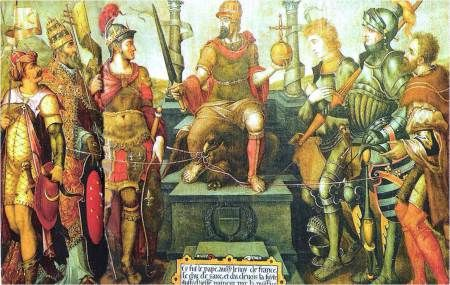 Charles V, enthroned over his defeated enemies (from left): Suleiman the Magnificent, Pope Clement VII, Francis I, the Duke of Cleves, the Duke of Saxony and the Landgrave of Hesse. Painted by Giulio Clovio, mid-16th century.