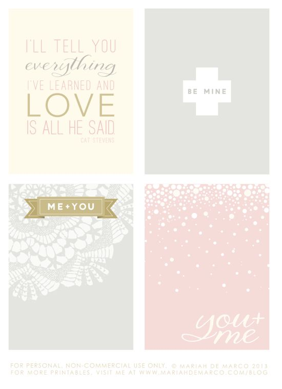 Free Love Project Life Cards