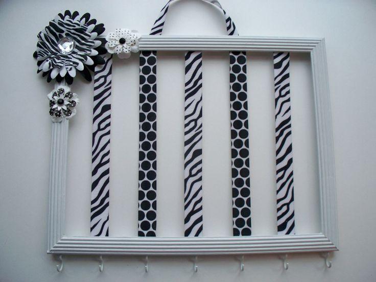 Girls hair bow and headband organizer, hair bow holder, black and white, zebra, polka dots, girls room decor