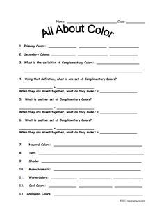 Color Theory worksheet for fourth grade in 2019 Art