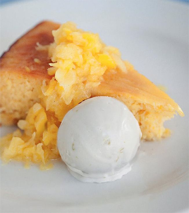 Crushed Pineapple and Coconut Cake with Coconut and Lime Sorbet