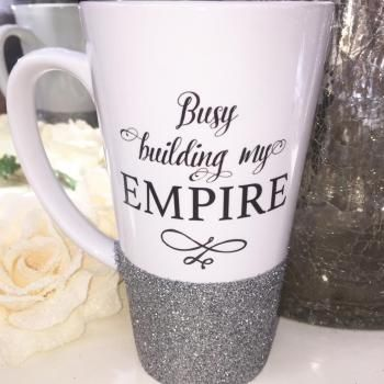 Busy Building My Empire Glitter Latte Mug