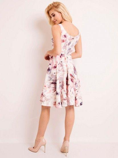 Дамска рокля без ръкав с флорални мотиви LOU-LOU  - алено розов