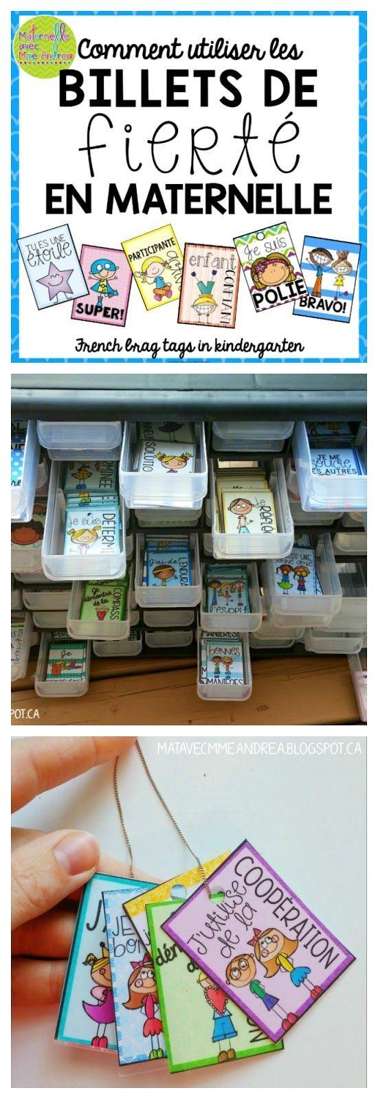 Maternelle avec Mme Andrea: Comment utiliser les «billets de fierté » en maternelle (French brag tags in kindergarten)
