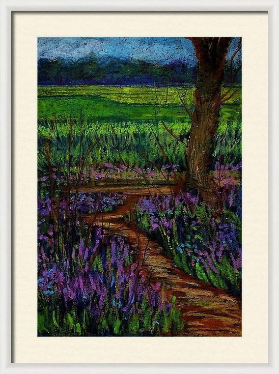 Blue Bells And Wild Flowers Of Spring Landscape Oil Pastels On Paper A4 Size Bells Flowers Landscape Paper Pa In 2020 Oil Pastel Spring Landscape Pastel Drawing
