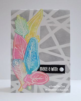 InvisiblePinkCards: Having fun with STAMPlorations Feathery stamps and Distress Oxides