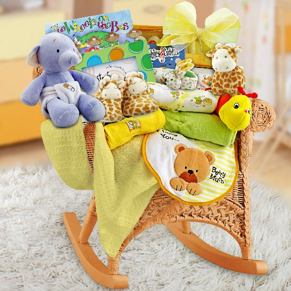 154 best baby gift baskets for boys images on pinterest baby baby rock wicker baby rocker neutral baby gift basketseaster negle Gallery
