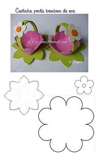 #artesanato #eva #diy molde da cestinha de e.v.a vc encontra aqui: http://www.artecomquiane.com/2010/11/cestinha-porta-bombom-de-eva-com-molde.html