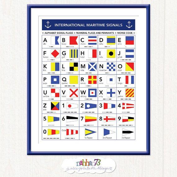 Navy Classroom Decor ~ International maritime signals alphabet flags morse