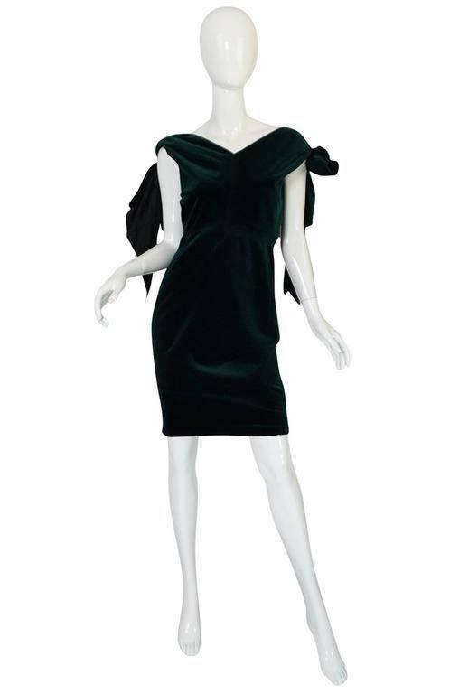 1980s Antony Price Bottle Green Velvet Dress