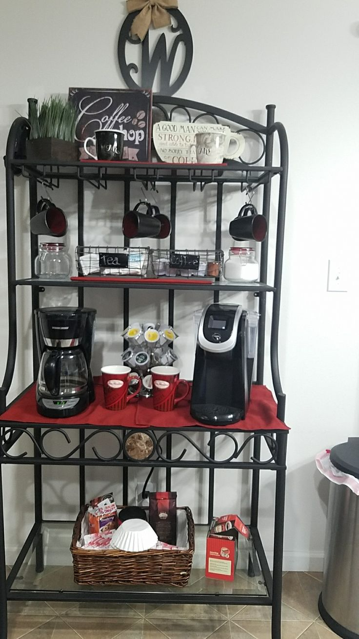 Corner Bakers Rack With Cabinet - An inexpensive but chic way to turn a bakers rack into a fabulous coffee bar