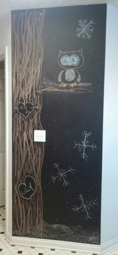 Chalkboard tree, hearts, snowflake, love, owl, together drawing, snow, kitchen