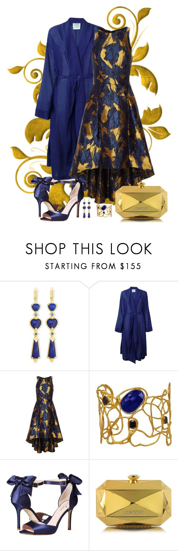 """""""Sachin & Babi Brocade Dress Look"""" by romaboots-1 ❤ liked on Polyvore featuring Konstantino, Forte Forte, NOIR Sachin + Babi, Vassiliki, Kate Spade and Love Moschino"""