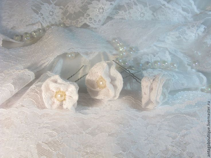 """Купить Свадебные шпильки для волос """"Нежный зефир"""" (белые кружевные) - шпильки для волос, шпильки для невесты http://www.antagaboutique.livemaster.ru"""