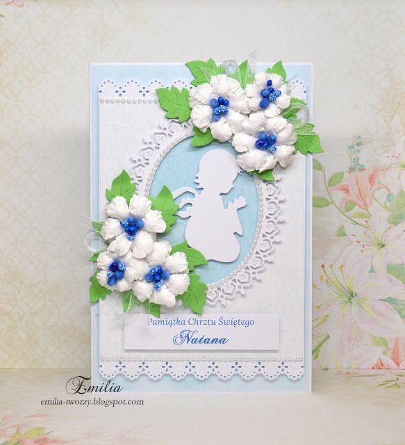 Emilia tworzy: Kartka na chrzest z aniołkiem/Chrzest Święty/Pamiątka Chrztu Świętego/Christening card