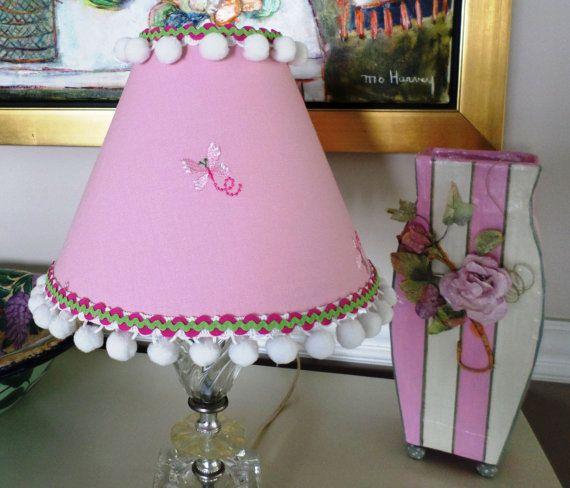Sweet Pink Linen with Butterflies Lamp Shade by SCBORIGINALS, $52.00