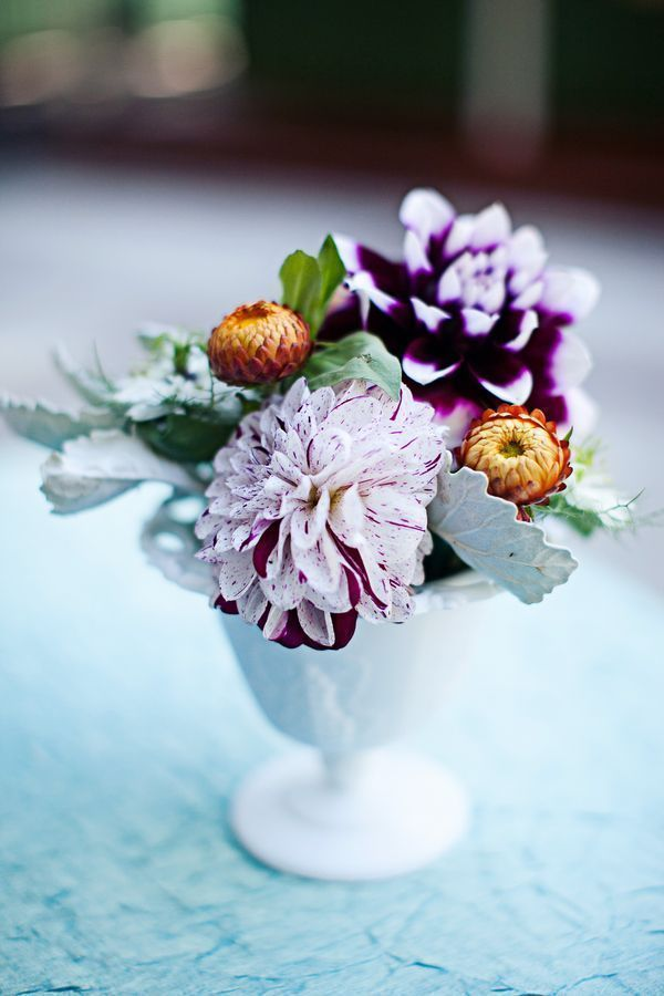 Purple dahlias and lambs ears. Love this combination for an autumn wedding /// Photo by Meg Perotti